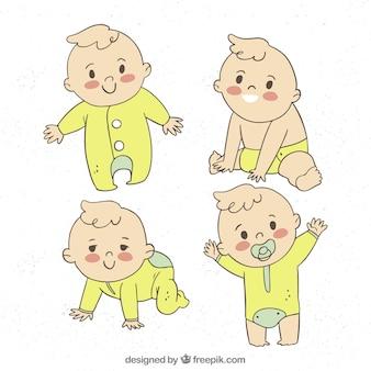 Collection de bébés dans le style dessiné à la main