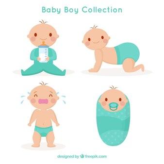 Collection de bébés dans le style plat