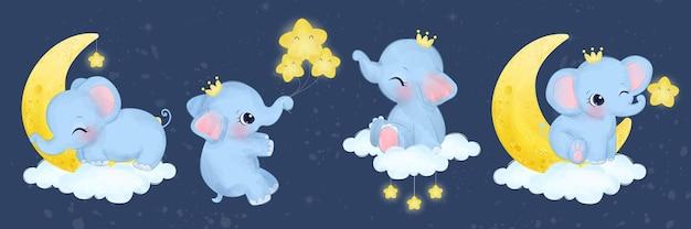 Collection de bébés éléphants mignons à l'aquarelle