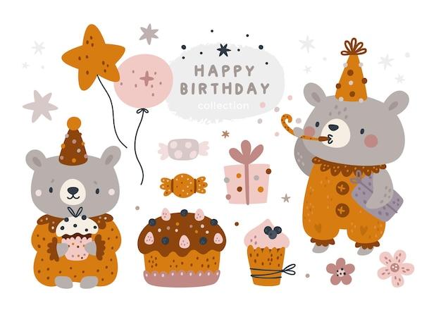 Collection de bébés ours dans un style bohème. joyeux anniversaire serti d'éléments de conception festifs