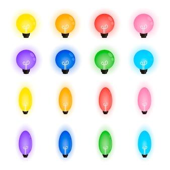 Collection de belles ampoules, guirlande de noël