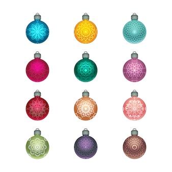 Collection de belles boules de noël brillantes