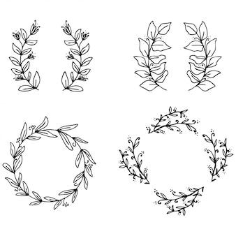 Collection de belles couronnes florales vector