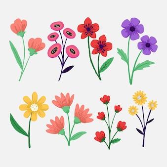 Collection de belles fleurs dessinées à la main