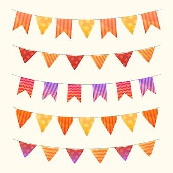 Collection de belles guirlandes pour drapeau d'anniversaire
