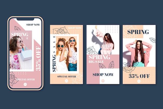 Collection de belles histoires instagram de vente de printemps