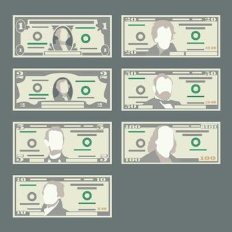 Collection de billets en dollar américain.