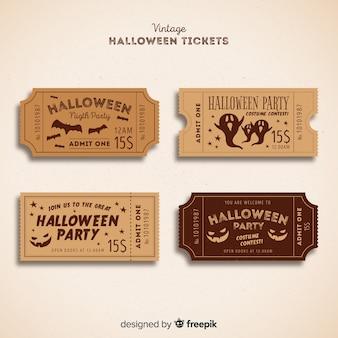 Collection de billets de fête d'halloween avec un design vintage