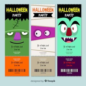 Collection de billets de fête halloween mignon
