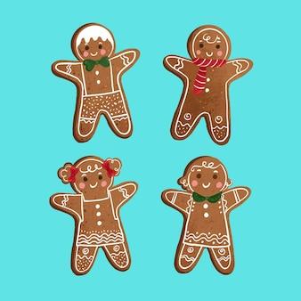 Collection de biscuits aquarelle homme en pain d'épice