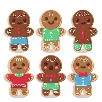 Collection de biscuits de bonhomme en pain d'épice au design plat