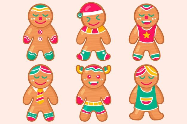 Collection de biscuits de bonhomme en pain d'épice design plat