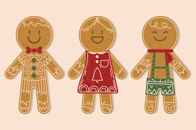 Collection de biscuits de bonhomme en pain d'épice dessinés à la main