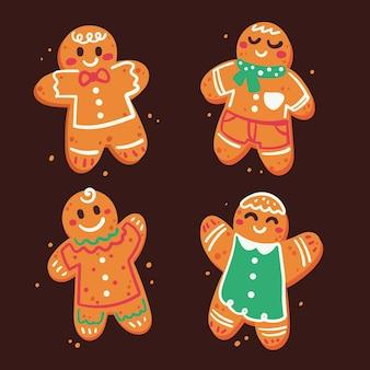 Collection de biscuits de bonhomme en pain d'épice plat dessinés à la main