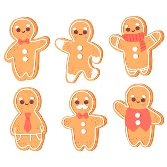 Collection de biscuits dessinés à la main de bonhomme en pain d'épice