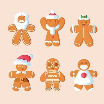 Collection de biscuits homme en pain d'épice design plat