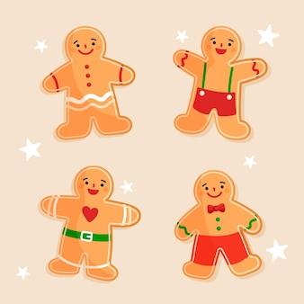 Collection de biscuits homme en pain d'épice dessinés à la main