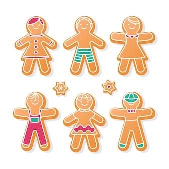 Collection de biscuits homme pain d'épice plat sur fond blanc