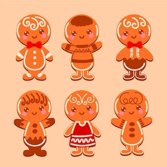 Collection de biscuits mignon homme pain d'épice