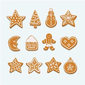 Collection de biscuits de noël avec des chiffres de pain d'épice et de biscuits