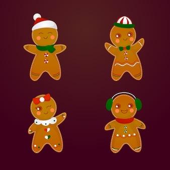 Collection de biscuits de pain d'épice dessinés à la main
