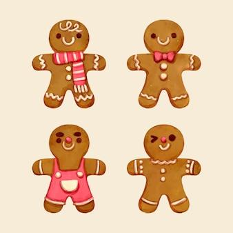 Collection de biscuits pour homme en pain d'épices aquarelle