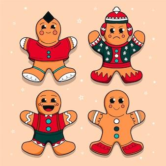 Collection de biscuits pour hommes en pain d'épice dessinés à la main