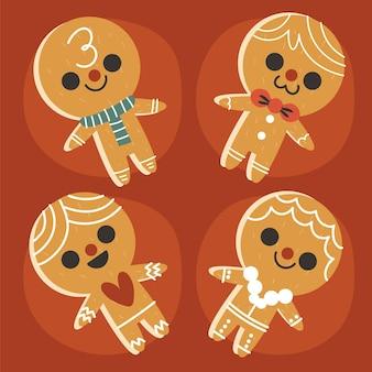 Collection de biscuits pour hommes en pain d'épice plats dessinés à la main