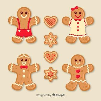 Collection de biscuits souriant pain d'épice