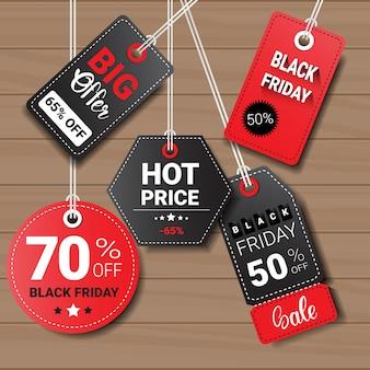 Collection de black friday tags ou étiquettes
