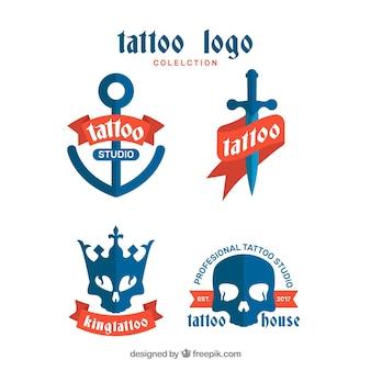 Collection bleue de logo de tatouage