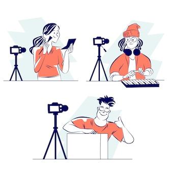 Collection de blogueurs dessinés à la main