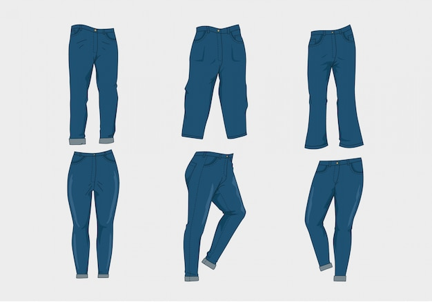 Collection blue jeans