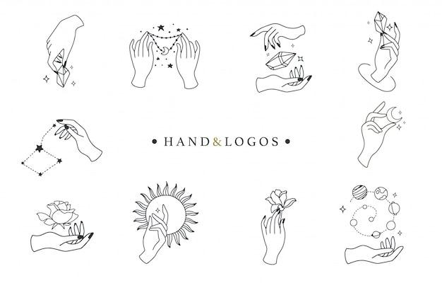 Collection boho beauté avec main, rose, cristal, soleil, lune, étoile.