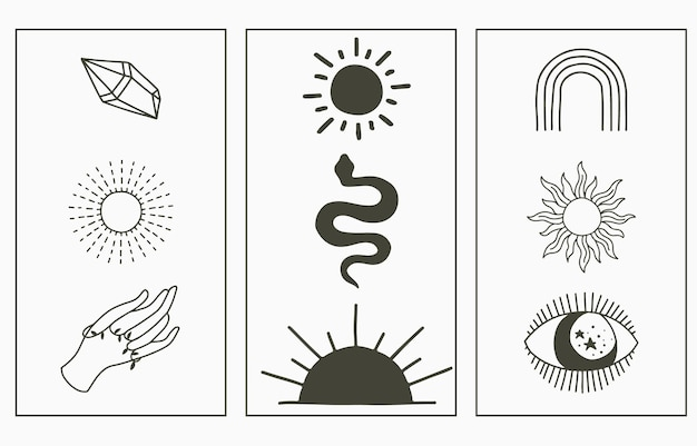 Collection boho beauté avec main, serpent, oeil, soleil.
