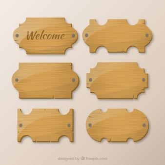 Collection en bois des enseignes