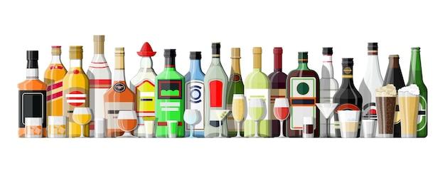 Collection de boissons alcoolisées isolée sur blanc