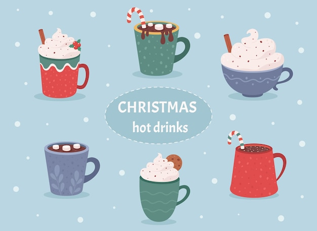 Collection de boissons chaudes de noël boissons chaudes d'hiver chocolat chaud tasses de café