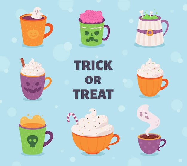 Collection de boissons d'halloween happy halloween trick or treat