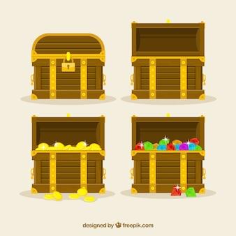 Collection de boîte au trésor en bois avec un design plat