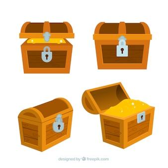 Collection de boîte aux trésors anciens avec design plat