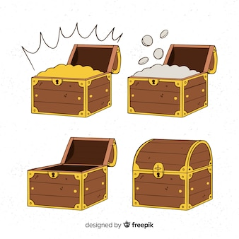Collection de boîte aux trésors dessinés à la main