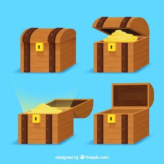 Collection de boîte aux trésors ouverte et fermée avec un design plat