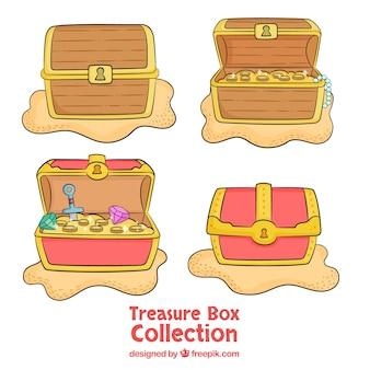 Collection de boîte aux trésors ouverte et fermée dessinés à la main