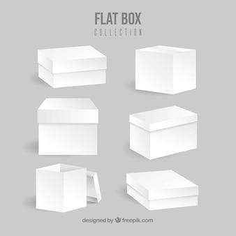 Collection de boîtes blanches à l'expédition dans le style plat