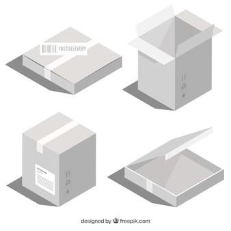 Collection de boîtes blanches à l'expédition dans un style réaliste