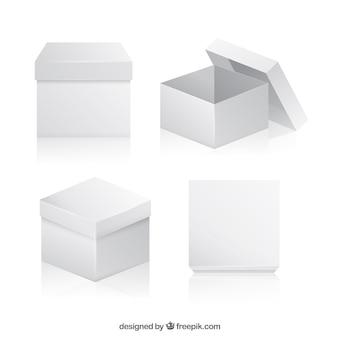Collection de boîtes blanches à l'expédition