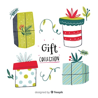 Collection de boîtes de cadeau de noël coloré dessiné à la main