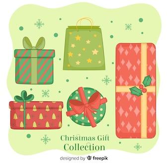 Collection de boîtes de cadeau de noël dessinées à la main