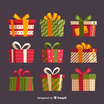 Collection de boîtes de cadeau de noël avec motif géométrique